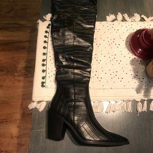 Nasty Gal Shoes - NWT Nasty Gal OTK black crocodile heeled boots